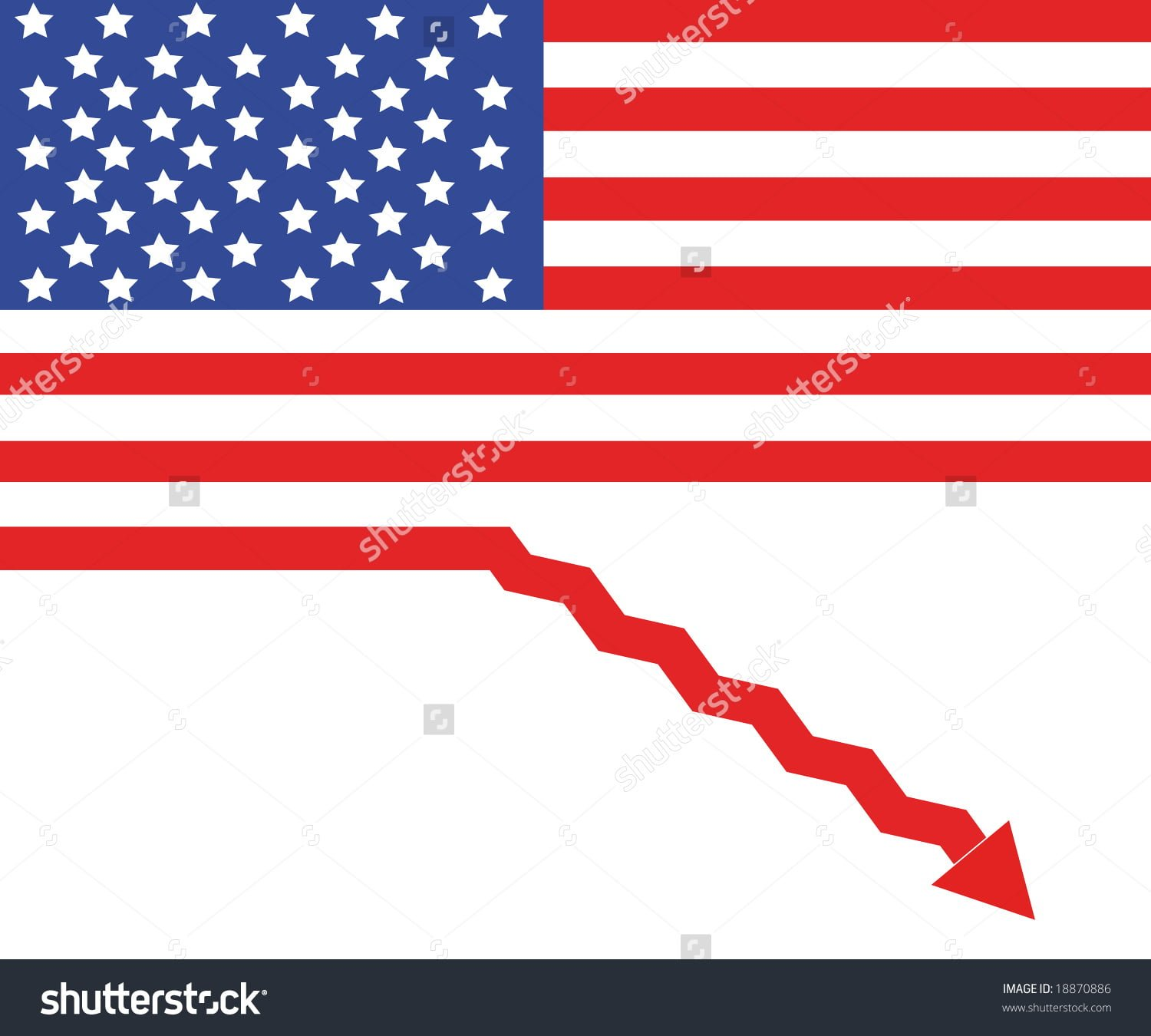 stock-photo-usa-flag-as-a-sign-of-recession-18870886
